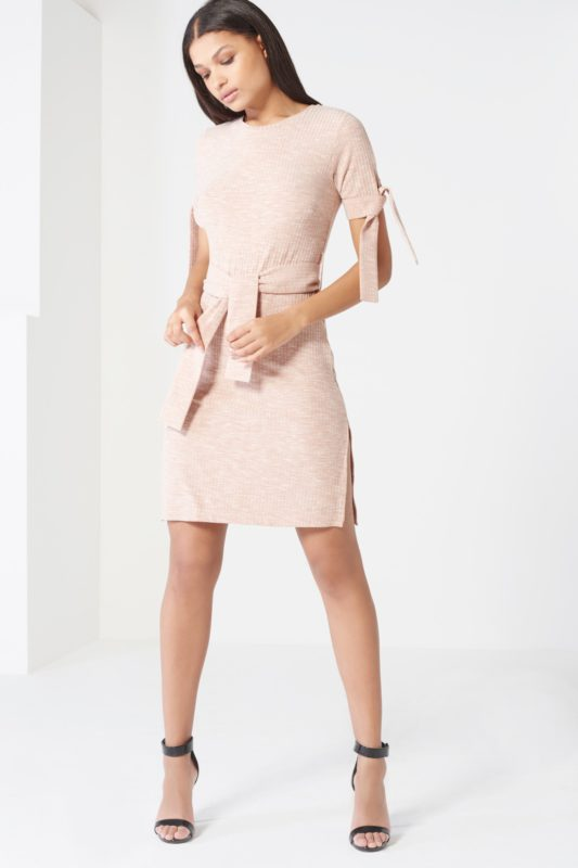 Nude Rib Jersey Tie Detail Dress