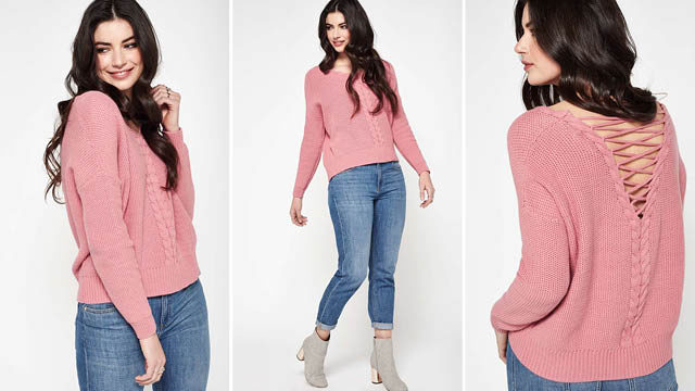 Pink Lattice Cable Jumper via Miss Selfridge