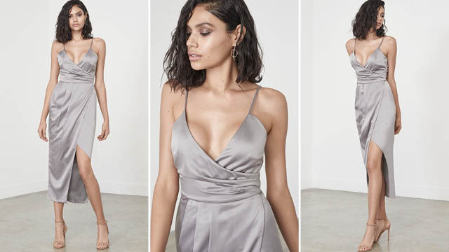 Silver Satin Wrap Long Midi Dress via Lavish Alice