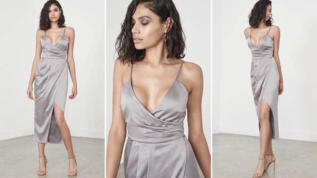 Silver Satin Wrap Long Midi Dress via Lavish Alice