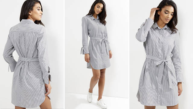 White Stripe Tie Waist Long Sleeve Shirt Dress