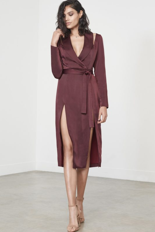 Wine Satin Cut Out Shoulder Double Split Midi Dress £68