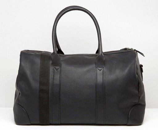 ASOS Leather Holdall In Black