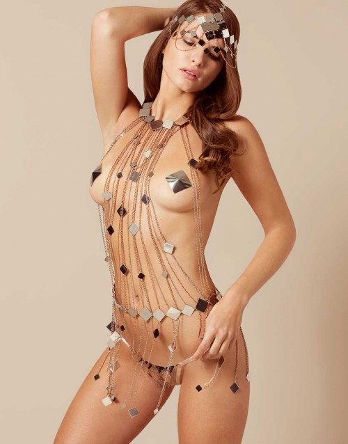 agent provocateur Adora Playsuit Silver And Rose Gold