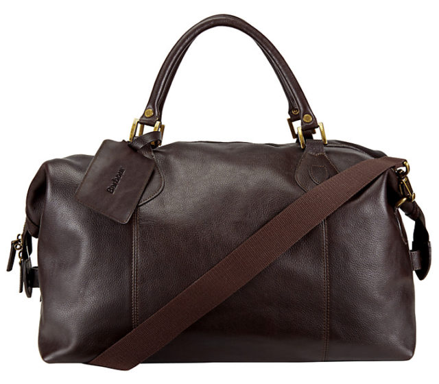 Barbour Leather Explore Holdall, Dark Brown