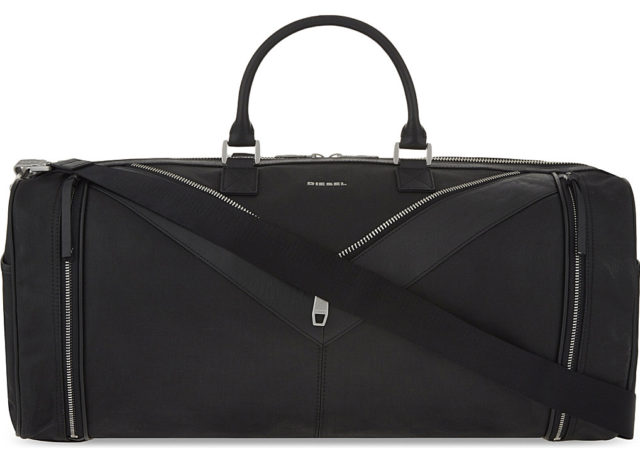 DIESEL Mr. V-Duffle leather & cotton canvas duffle