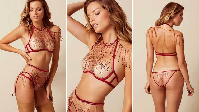 Sashah Bra in Nude And Burgundy