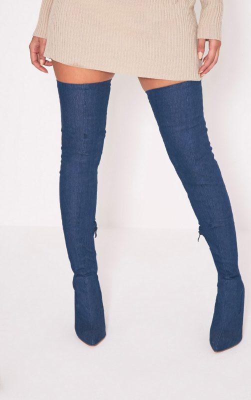 Alycia Over The Knee Denim Boots