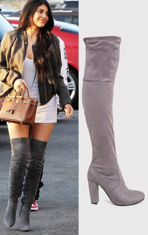 Bess Grey Faux Suede Heel Thigh Boots