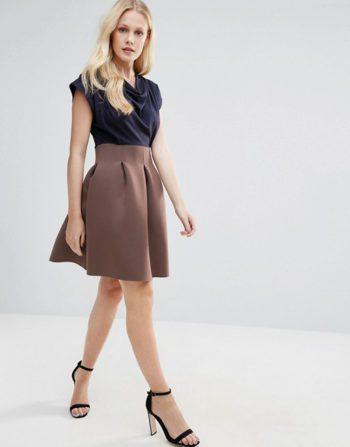 Closet Full Skirt Cowl Neck Dress