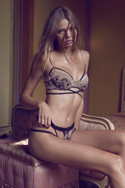 For Love & Lemons designs Heliotrope appliqué underwire bra and thong