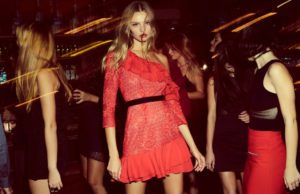 For Love & Lemons features the Chanti off-the-shoulder ruffle dress in spring 2017 collection