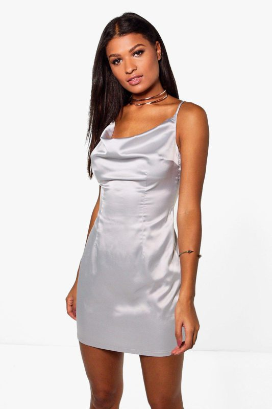 Gena Satin Strappy Cowl Neck Slip Dress