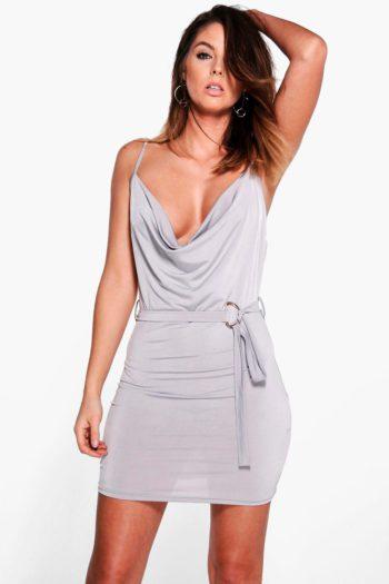 Janet Cowl Neck Dress Waist Tie Bodycon Dress