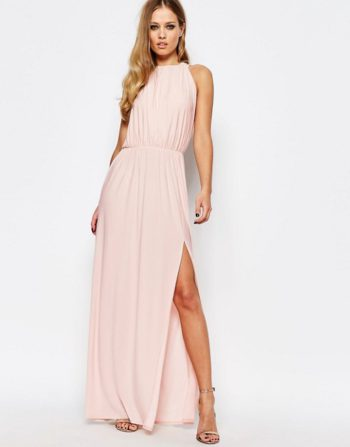 Love High Neck Cowl Back Draped Maxi Dress