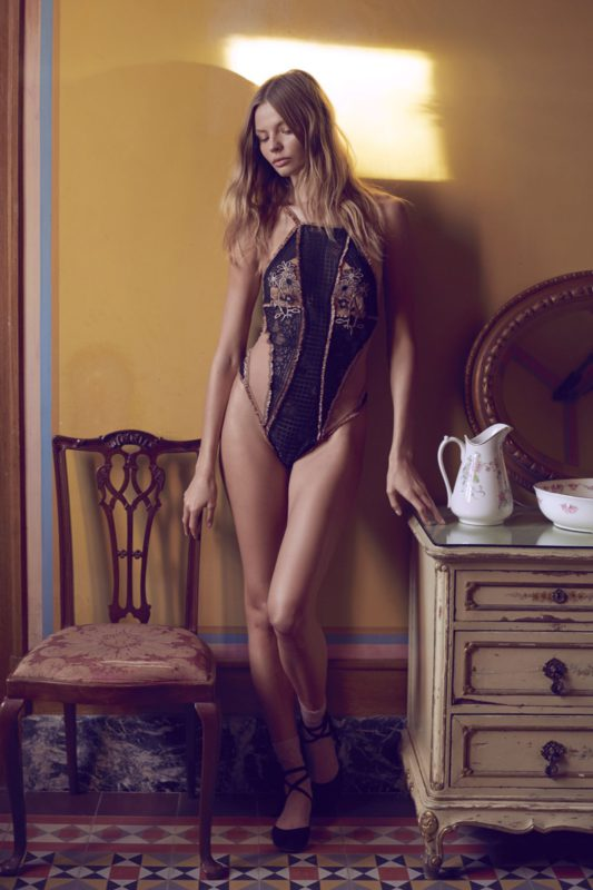Magdalena Frackowiak models For Love & Lemons Heliotrope appliqué bodysuit