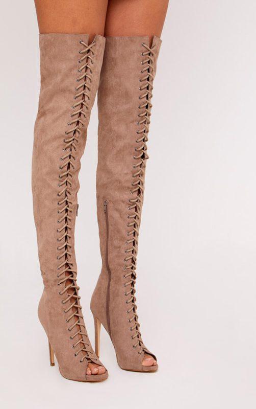 Malinda Mocha Lace Up Peep Toe Thigh High Boots