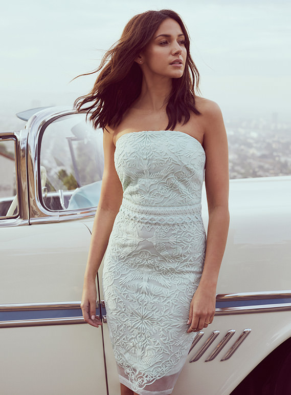 Love Lipsy mint green bandeau dress with embroidered details