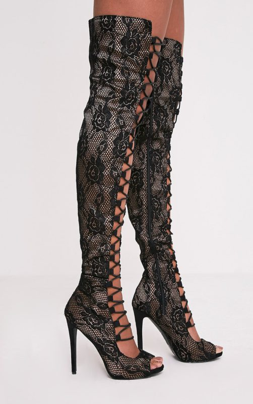 Safire Black Lace Up Thigh High Lace Heels