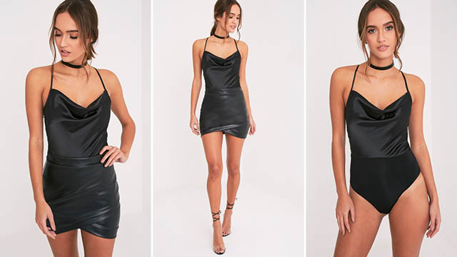 Talia Black Satin Cowl Neck Thong Bodysuit