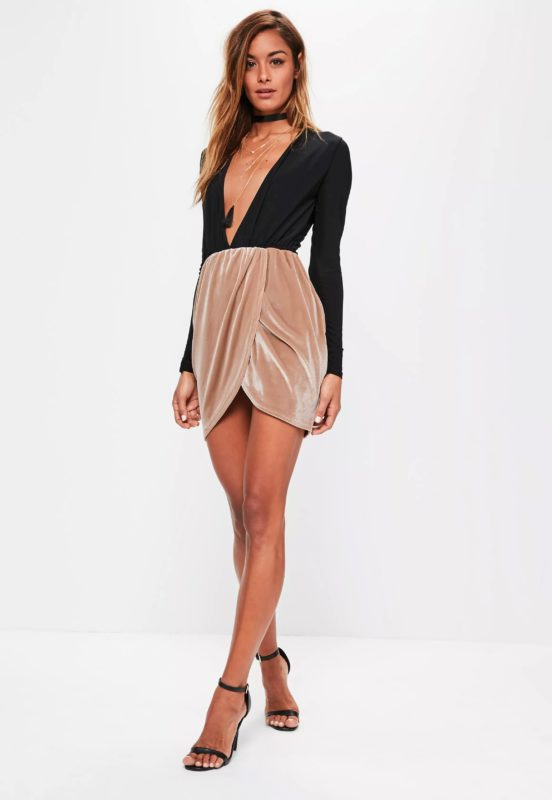bronze velvet gathered waist mini skirt