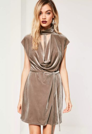 brown-choker-cowl-neck-bodycon-velvet-dress