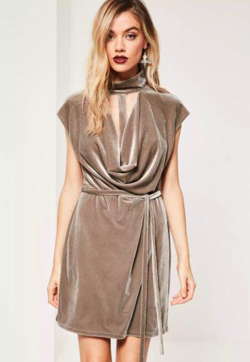 brown-choker-cowl-neck-bodycon-velvet-dress