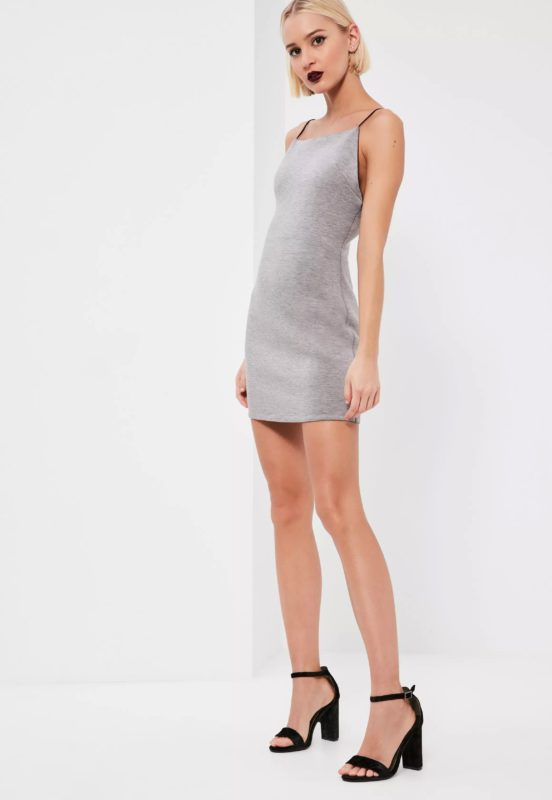 grey square neck bodycon dress
