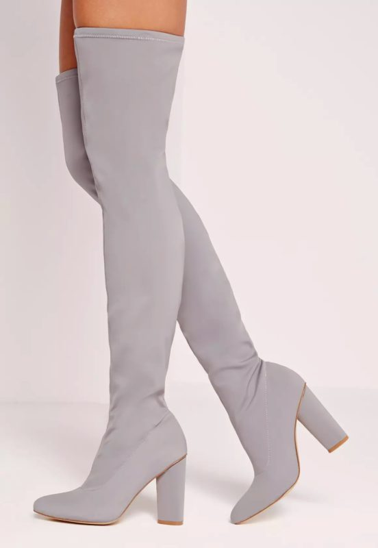pointed toe neoprene over the knee boot grey