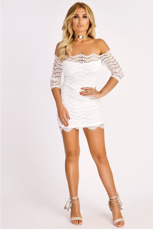 BILLIE FAIERS WHITE LACE OFF SHOULDER BODYCON DRESS
