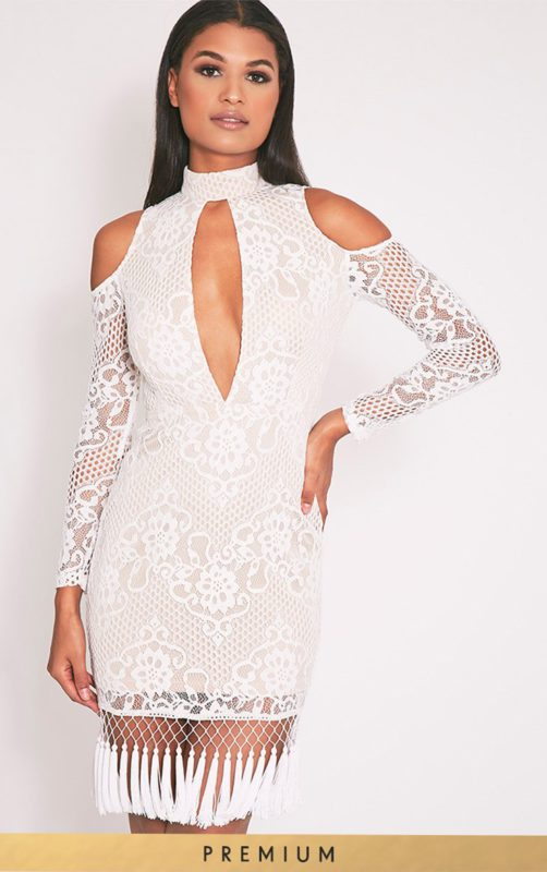 Krina White Premium Lace Tassel Detail Bodycon Dress