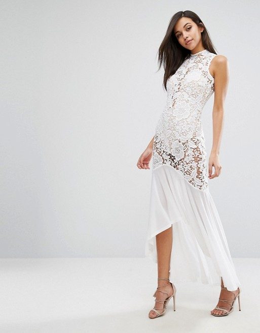 Love Triangle Lace Sheer Panel Fishtail Maxi Dress