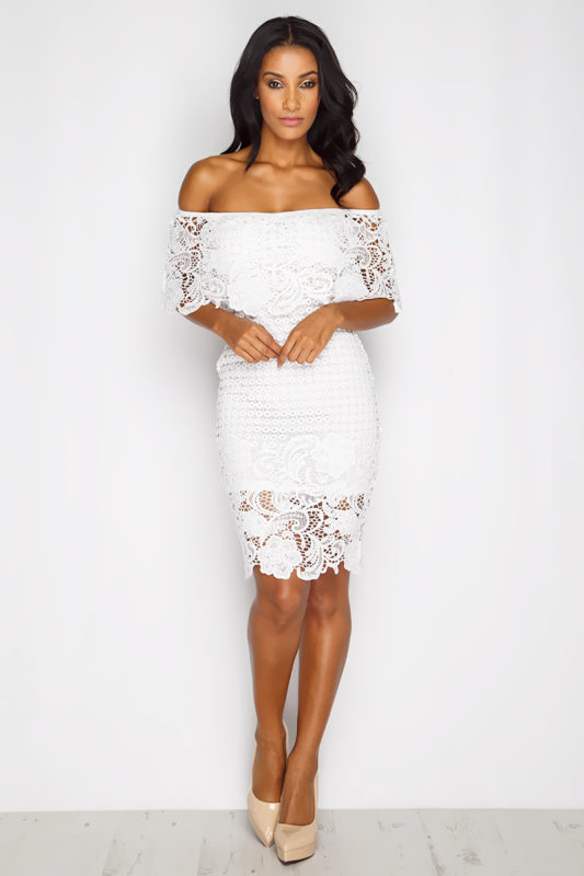 Toff White Bardot Lace Dress