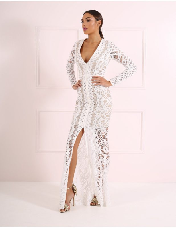 White Lace Evening Gown with Long Sleeves and Plunging Neckline