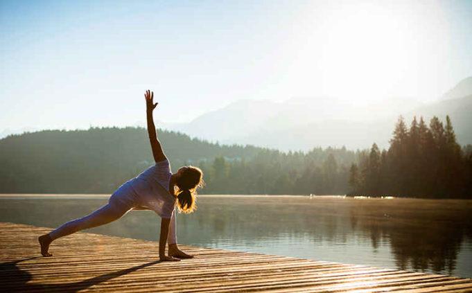 yoga by lake