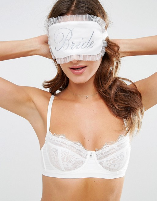 ASOS BRIDAL Satin Bride Blindfold with Lace Gift Bag