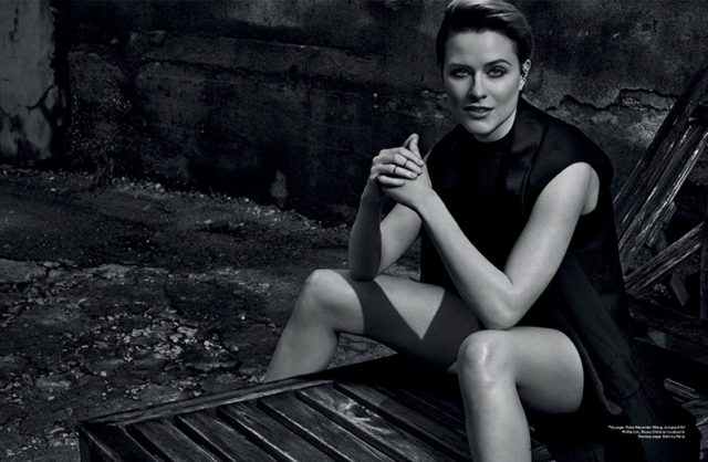Actress Evan Rachel Wood wears Alexander Wang robe and 3.1 Phillip Lim romper