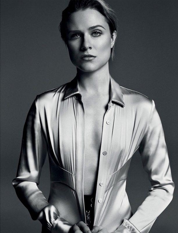 Evan Rachel Wood poses in Celine jacket and pants with Yasmine Eslami bra