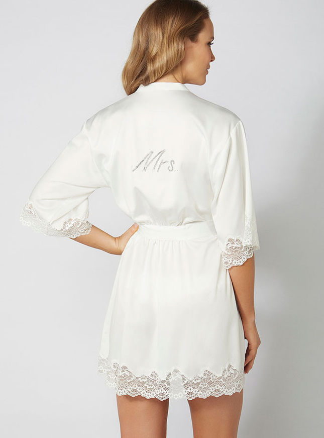 Mrs satin and lace robe