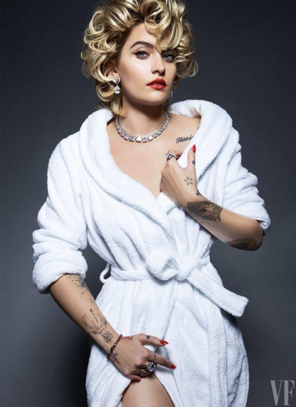 Paris Jackson poses in a white robe for Vanity Fair