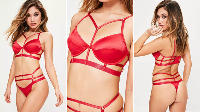 red satin harness strap underwired bra and thong