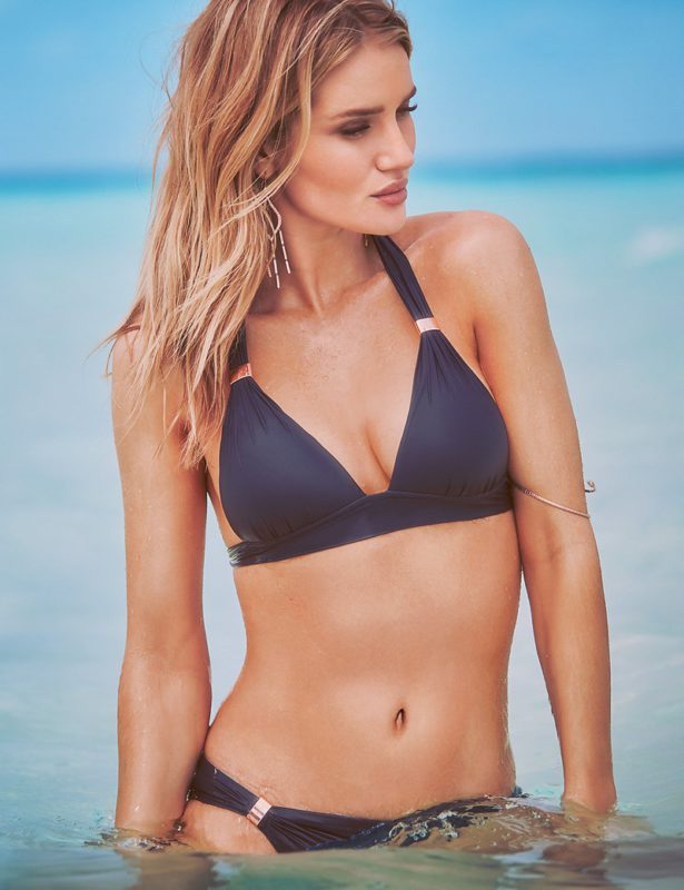 A classic triangle bikini top gets an update with chic hardware detail.