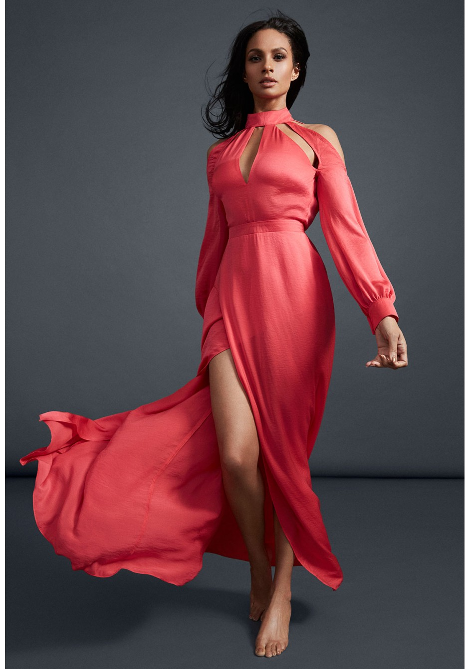 Alesha Dixon Choker Neck Cut Out Detail Maxi Dress in Fuchsia