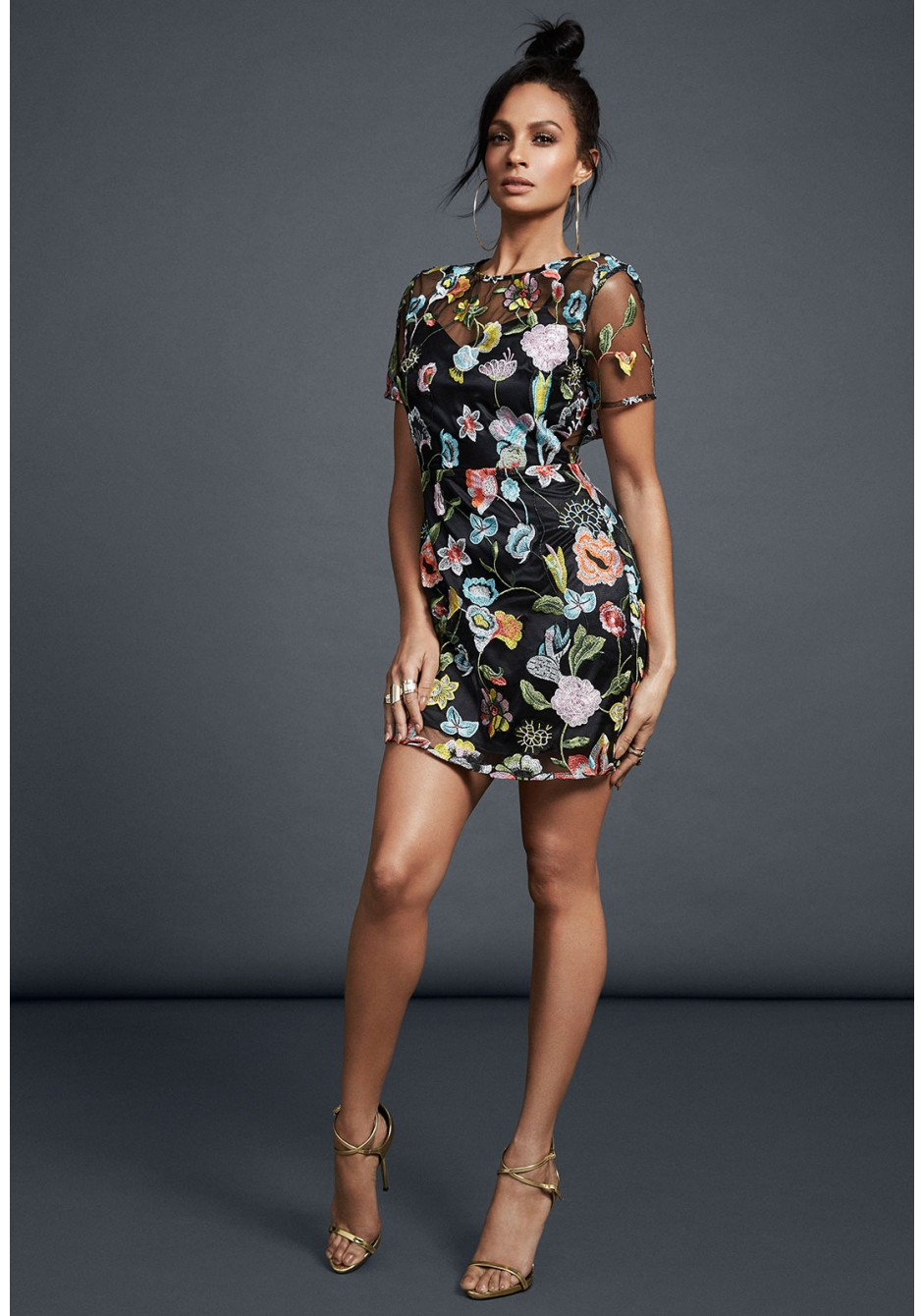 Alesha Dixon Flower Embroidered Mini Dress with Sheer Detail