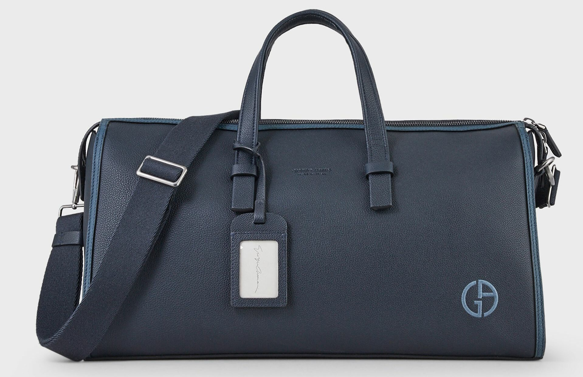 Armani Grainy leather holdall with name tag