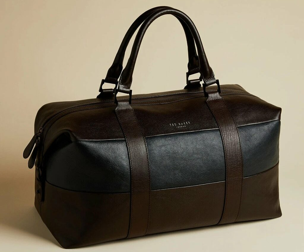 ELTON Striped leather holdall