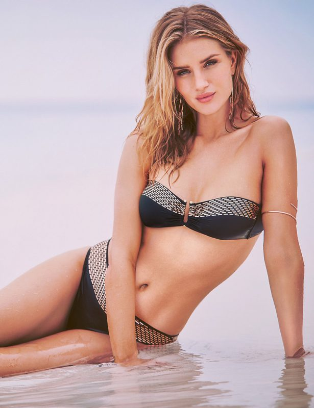Flaunt some skin in a bandeau style bikini featuring on trend gold embellishment.