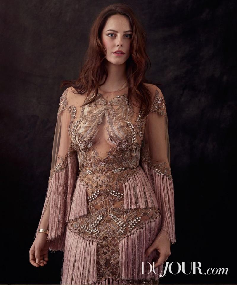 Kaya Scodelario wears fringe embellished dress