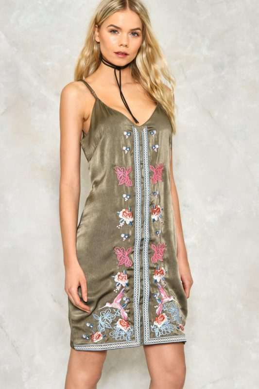 Kick Bud Embroidered Satin Dress