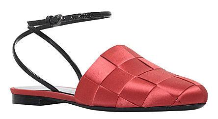 MARCO DE VINCENZO Basket weave satin slides